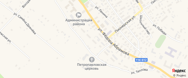Улица Теплова на карте села Карпогор с номерами домов
