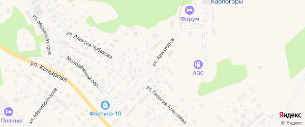 Улица Авиаторов на карте села Карпогор с номерами домов