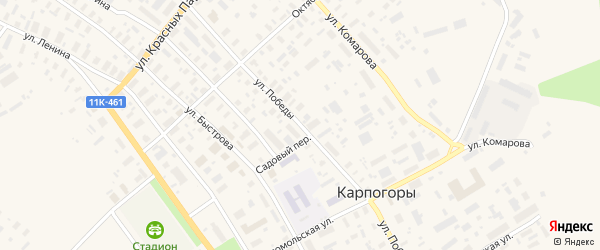 Улица Победы на карте села Карпогор с номерами домов
