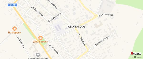 Комсомольская улица на карте села Карпогор с номерами домов