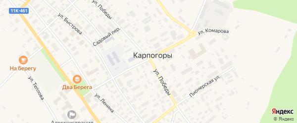 Школьный переулок на карте села Карпогор с номерами домов