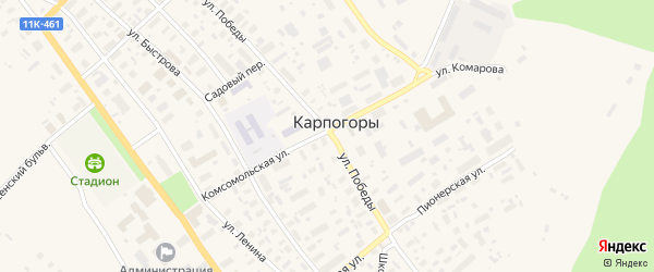 Улица Алексея Чубакова на карте села Карпогор с номерами домов