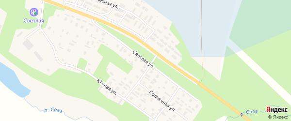 Светлая улица на карте села Карпогор с номерами домов
