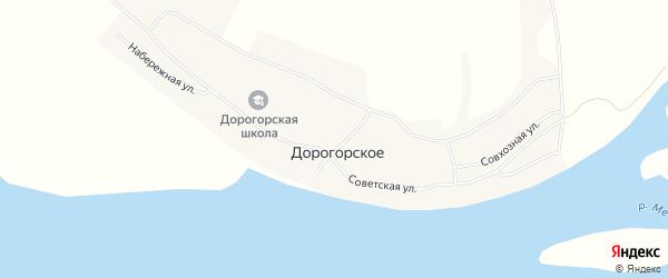 Карта Дорогорского села в Архангельской области с улицами и номерами домов
