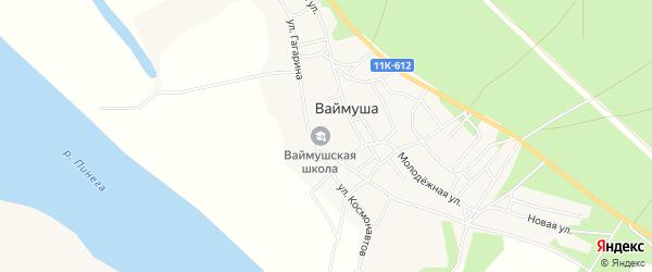 Карта деревни Ваймуши в Архангельской области с улицами и номерами домов