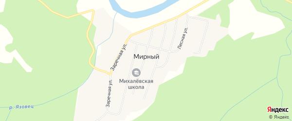 Карта Мирного поселка в Архангельской области с улицами и номерами домов