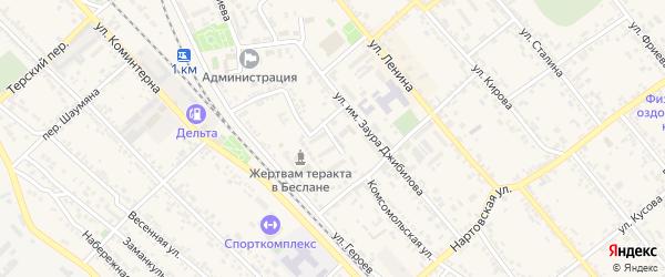 Школьный переулок на карте Беслана с номерами домов