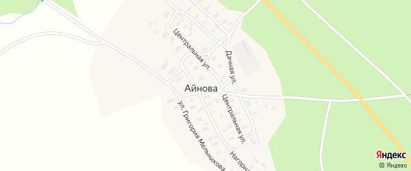 Дачная улица на карте деревни Айнова с номерами домов
