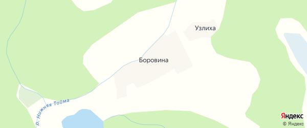 Карта деревни Боровина в Архангельской области с улицами и номерами домов