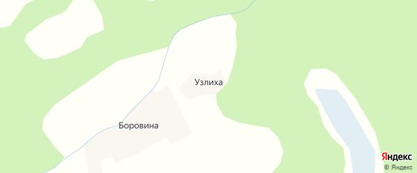 Карта деревни Узлихи в Архангельской области с улицами и номерами домов