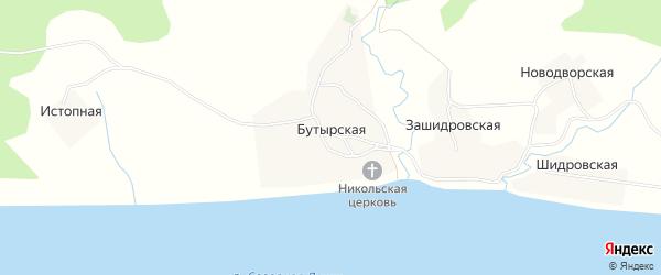 Карта Бутырской деревни в Архангельской области с улицами и номерами домов