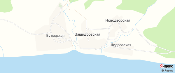 Карта Зашидровской деревни в Архангельской области с улицами и номерами домов