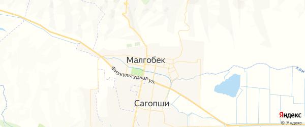 Карта Малгобека с районами, улицами и номерами домов