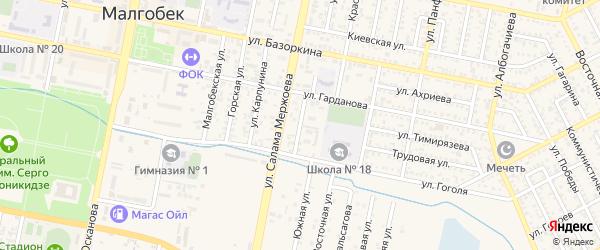 Переулок Гоголя на карте Малгобека с номерами домов