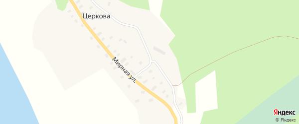 Мирная улица на карте деревни Церкова с номерами домов