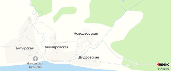 Карта Новодворской деревни в Архангельской области с улицами и номерами домов