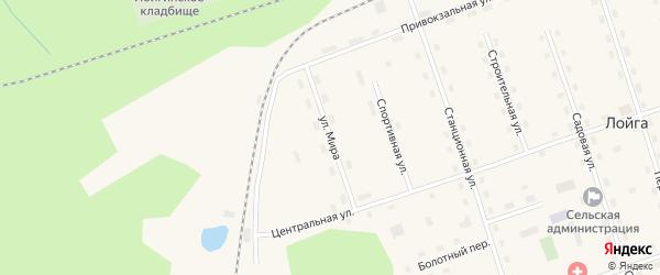 Спортивная улица на карте поселка Лойги с номерами домов