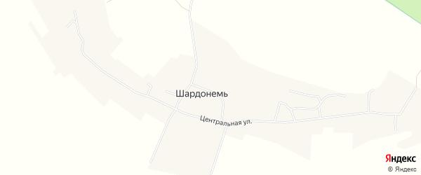 Карта деревни Шардонеми в Архангельской области с улицами и номерами домов
