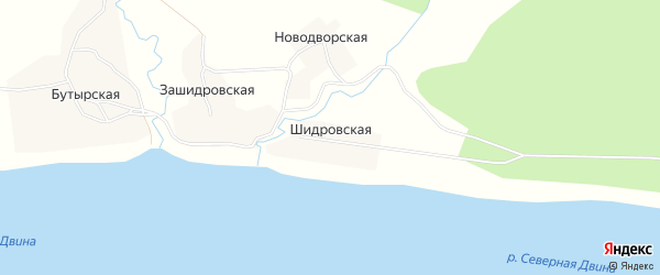 Карта Шидровской деревни в Архангельской области с улицами и номерами домов