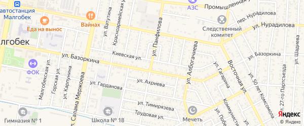 Улица Панфилова на карте Малгобека с номерами домов