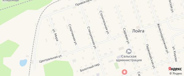 Станционная улица на карте поселка Лойги с номерами домов