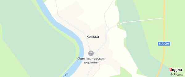 Карта деревни Кимжи в Архангельской области с улицами и номерами домов