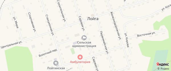 Садовая улица на карте поселка Лойги с номерами домов