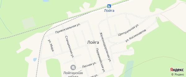 Карта поселка Лойги в Архангельской области с улицами и номерами домов