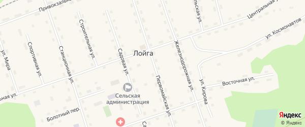 Первомайская улица на карте поселка Лойги с номерами домов