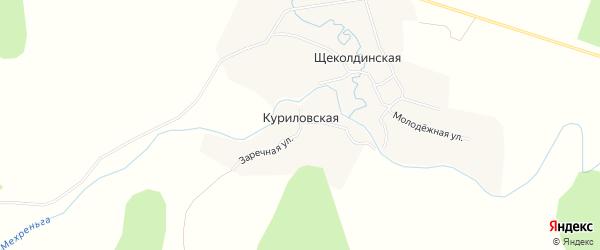 Карта Куриловской деревни в Архангельской области с улицами и номерами домов