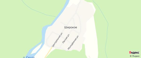 Карта поселка Широкого в Архангельской области с улицами и номерами домов