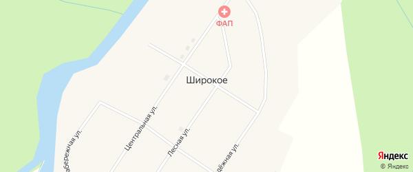 Набережная улица на карте поселка Широкого с номерами домов