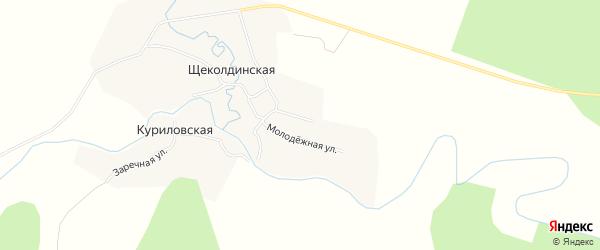 Карта Щеколдинской деревни в Архангельской области с улицами и номерами домов