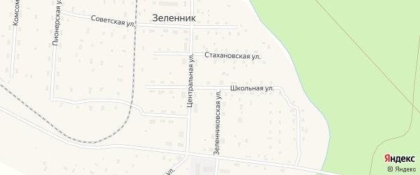 Школьная улица на карте поселка Зеленника с номерами домов