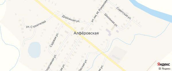 Улица Строителей на карте Алферовской деревни с номерами домов