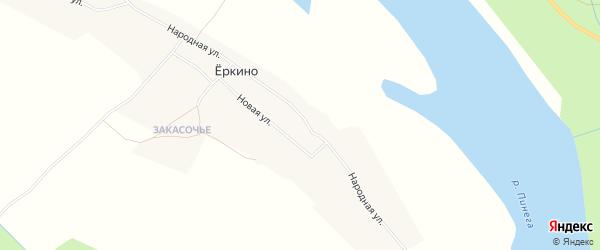 Карта деревни Еркино в Архангельской области с улицами и номерами домов