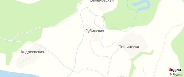 Карта Губинской деревни в Архангельской области с улицами и номерами домов