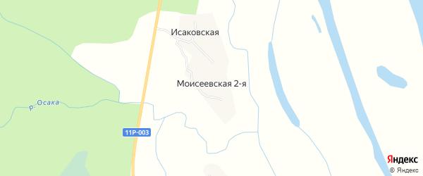 Карта Моисеевская 2-я деревни в Архангельской области с улицами и номерами домов