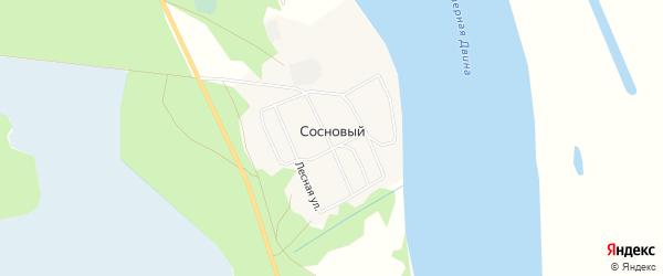 Карта Соснового поселка в Архангельской области с улицами и номерами домов