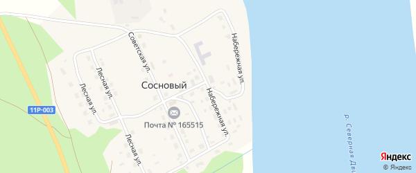 Набережная улица на карте Соснового поселка с номерами домов