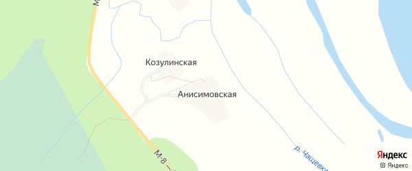 Карта Козулинской деревни в Архангельской области с улицами и номерами домов