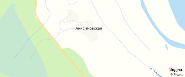 Карта Анисимовской деревни в Архангельской области с улицами и номерами домов