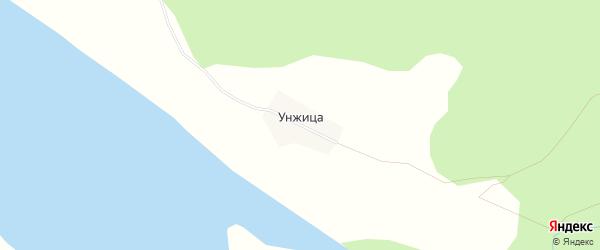 Карта деревни Унжицы в Архангельской области с улицами и номерами домов