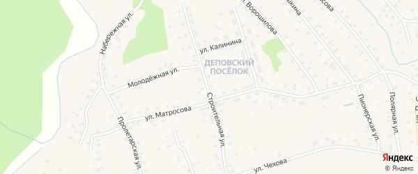 Строительная улица на карте поселка Киземы с номерами домов