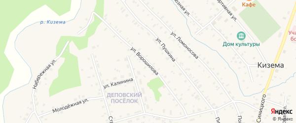 Улица Ворошилова на карте поселка Киземы с номерами домов