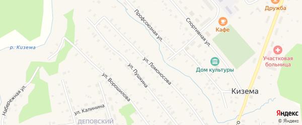 Улица Ломоносова на карте поселка Киземы с номерами домов