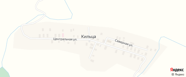 Центральная улица на карте деревни Кильцы с номерами домов