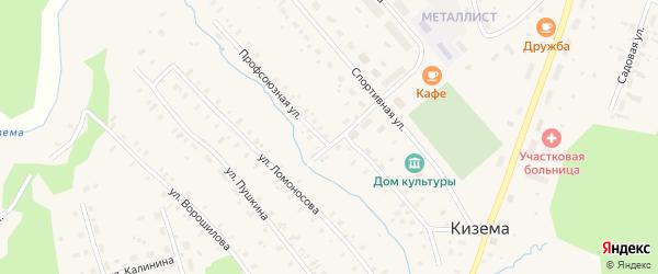 Профсоюзная улица на карте поселка Киземы с номерами домов