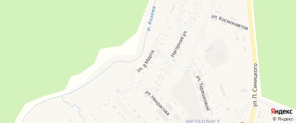 Улица 8 Марта на карте поселка Киземы с номерами домов