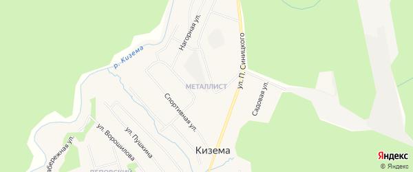 Карта поселка Киземы в Архангельской области с улицами и номерами домов